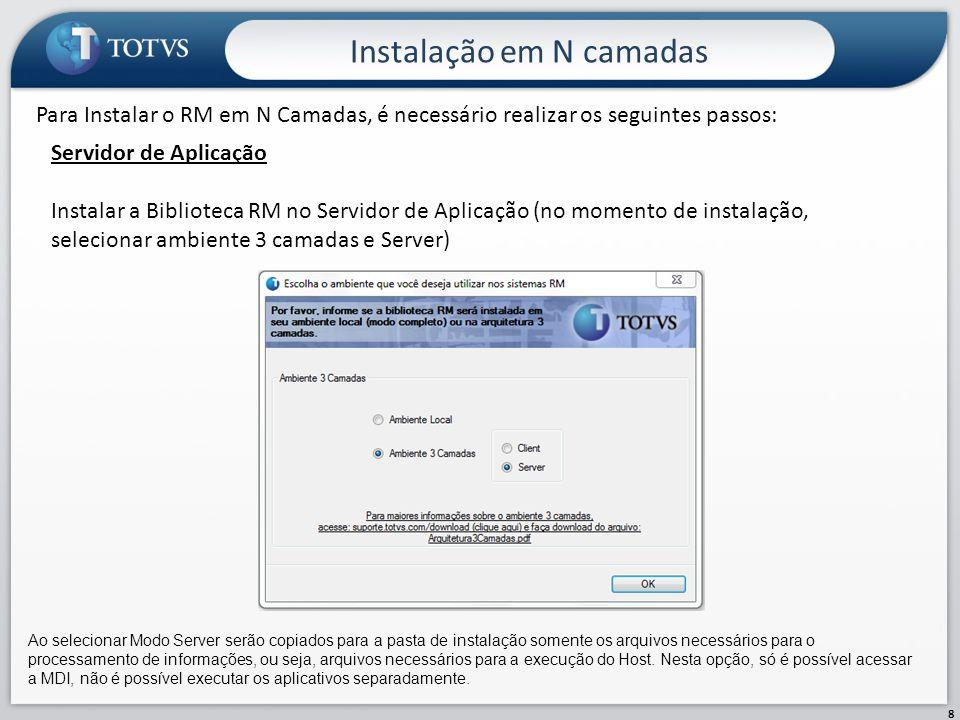 Outras configurações 19 Antivírus O custo para o antivírus monitore um pasta ou arquivo geralmente é alto, sendo assim, devemos configurar uma exceção no antivírus, para que o mesmo não monitore a pasta de instalação do RM.