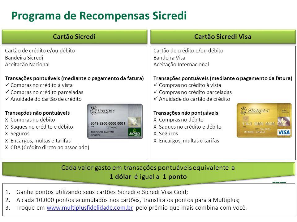 Programa de Recompensas Sicredi Cartão de crédito e/ou débito Bandeira Sicredi Aceitação Nacional Transações pontuáveis (mediante o pagamento da fatur
