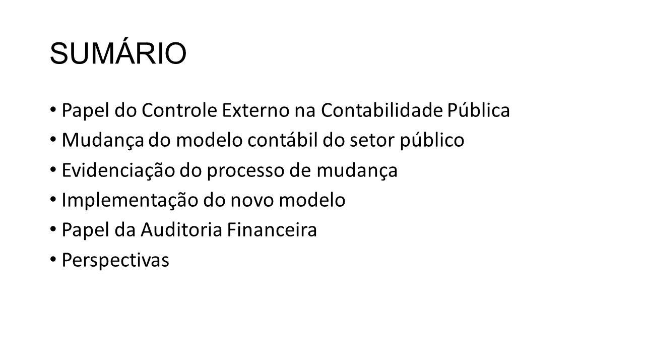 SUMÁRIO Papel do Controle Externo na Contabilidade Pública Mudança do modelo contábil do setor público Evidenciação do processo de mudança Implementação do novo modelo Papel da Auditoria Financeira Perspectivas