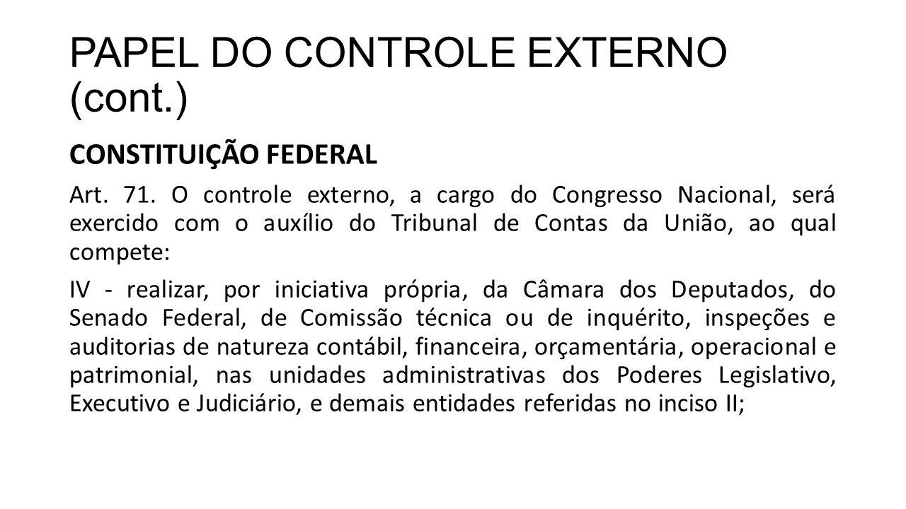 PAPEL DO CONTROLE EXTERNO (cont.) CONSTITUIÇÃO FEDERAL Art. 71. O controle externo, a cargo do Congresso Nacional, será exercido com o auxílio do Trib