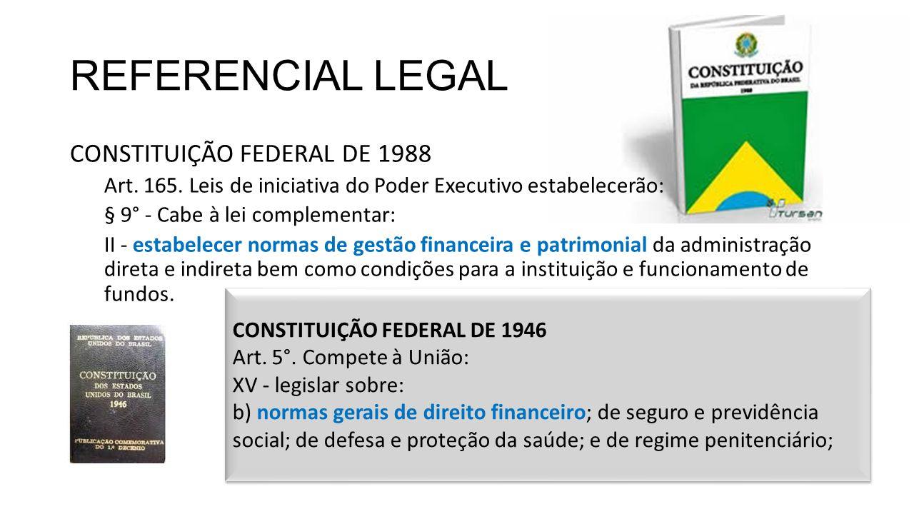 REFERENCIAL LEGAL CONSTITUIÇÃO FEDERAL DE 1988 Art. 165. Leis de iniciativa do Poder Executivo estabelecerão: § 9° - Cabe à lei complementar: II - est
