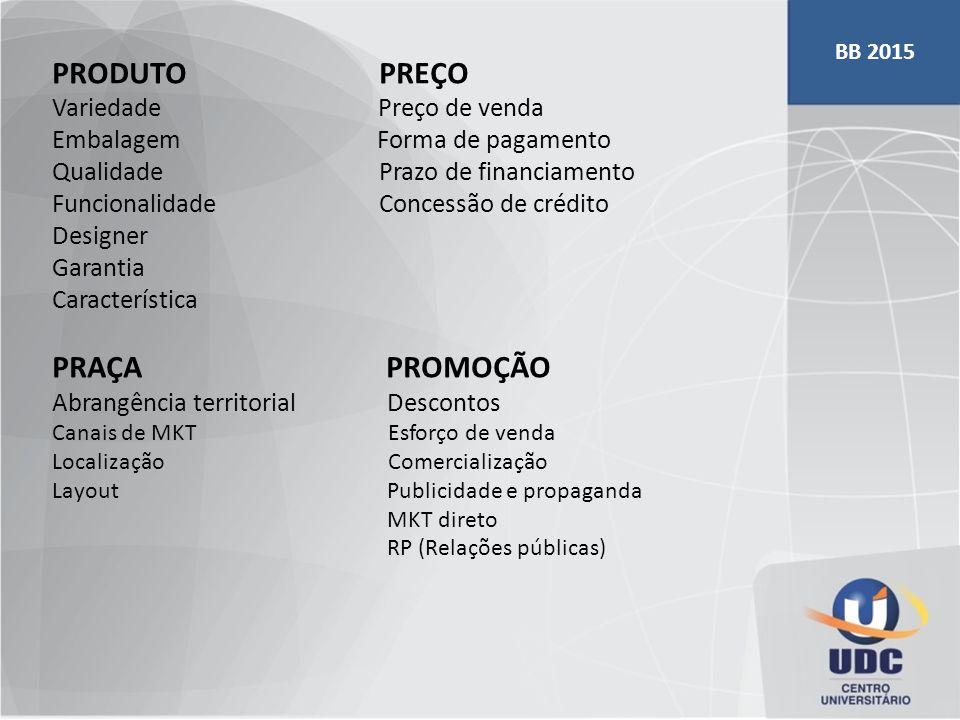 PRODUTO PREÇO Variedade Preço de venda Embalagem Forma de pagamento Qualidade Prazo de financiamento Funcionalidade Concessão de crédito Designer Gara