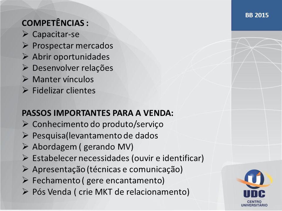 COMPETÊNCIAS :  Capacitar-se  Prospectar mercados  Abrir oportunidades  Desenvolver relações  Manter vínculos  Fidelizar clientes PASSOS IMPORTA