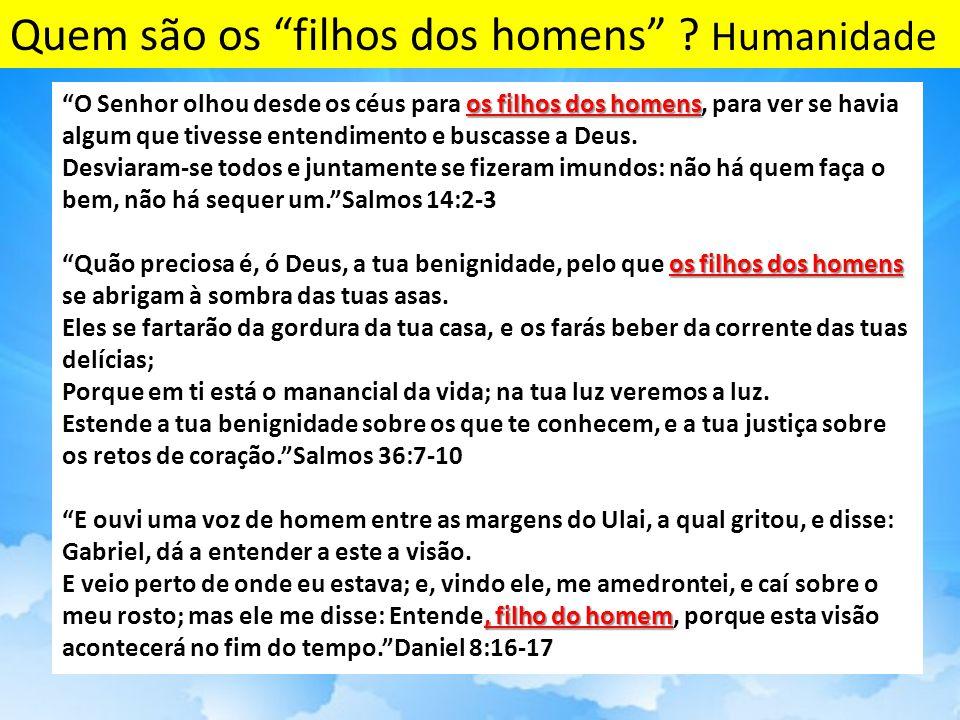 os filhos dos homens O Senhor olhou desde os céus para os filhos dos homens, para ver se havia algum que tivesse entendimento e buscasse a Deus.
