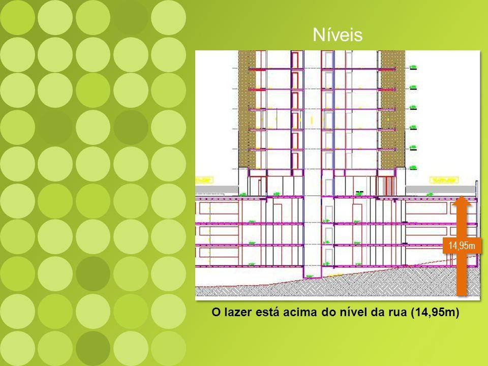O lazer está acima do nível da rua (14,95m) Níveis