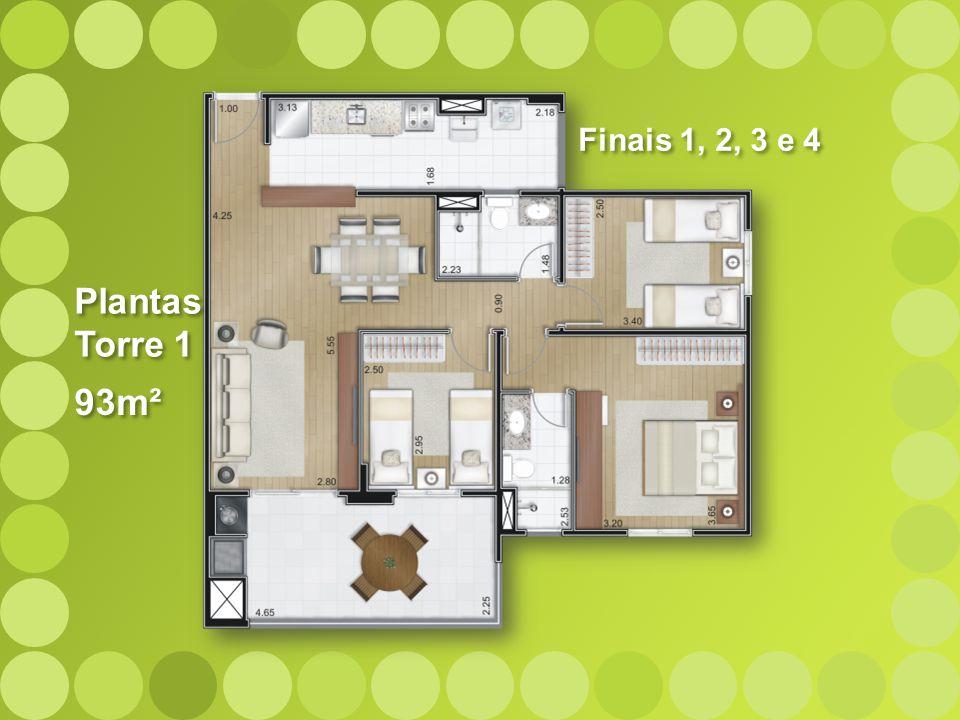 93m² Plantas Torre 1 Plantas Torre 1 Finais 1, 2, 3 e 4