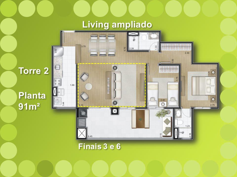 Planta 91m² Planta 91m² Torre 2 Living ampliado Finais 3 e 6