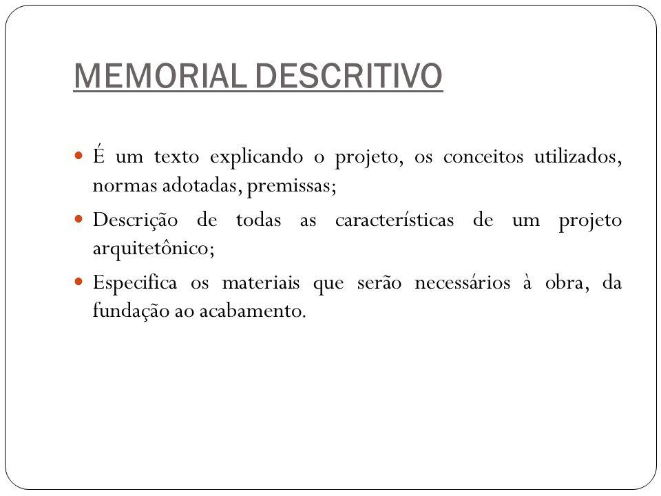 MEMORIAL DESCRITIVO É um texto explicando o projeto, os conceitos utilizados, normas adotadas, premissas; Descrição de todas as características de um