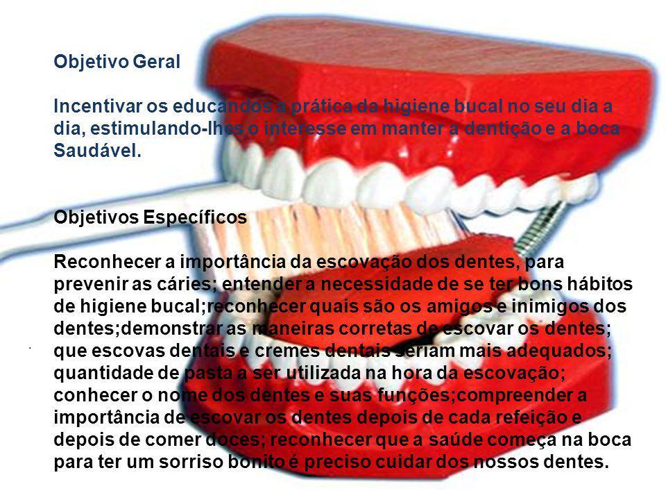 Objetivo Geral Incentivar os educandos a prática da higiene bucal no seu dia a dia, estimulando-lhes o interesse em manter a dentição e a boca Saudáve
