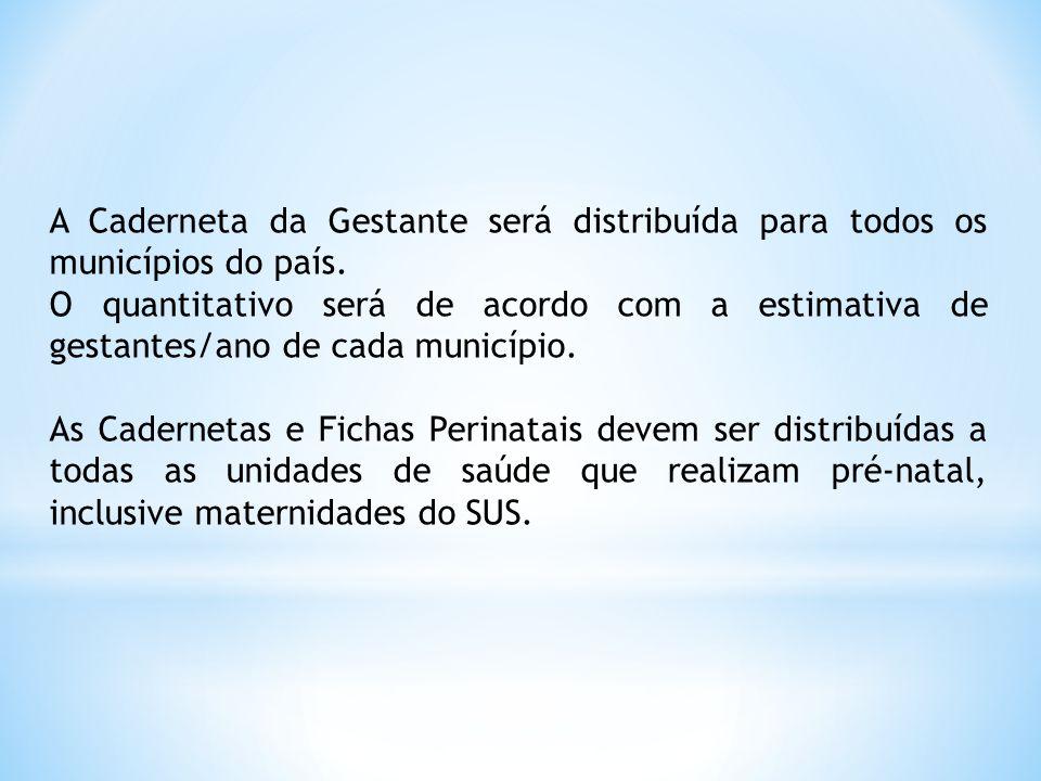 A Caderneta da Gestante será distribuída para todos os municípios do país. O quantitativo será de acordo com a estimativa de gestantes/ano de cada mun
