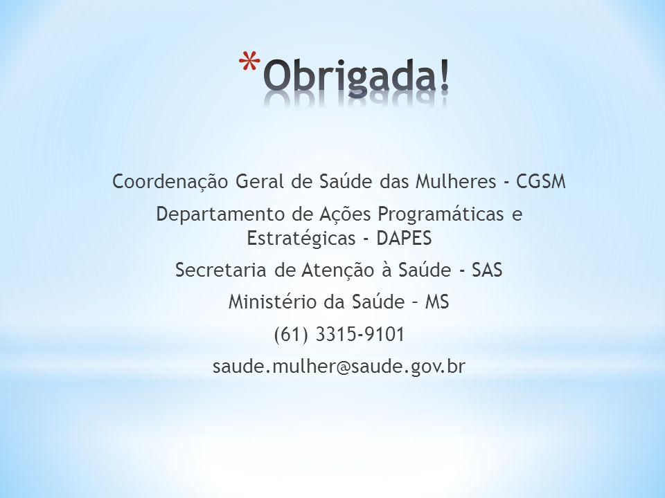 Coordenação Geral de Saúde das Mulheres - CGSM Departamento de Ações Programáticas e Estratégicas - DAPES Secretaria de Atenção à Saúde - SAS Ministér