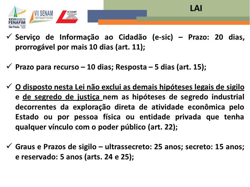 Serviço de Informação ao Cidadão (e-sic) – Prazo: 20 dias, prorrogável por mais 10 dias (art. 11); Prazo para recurso – 10 dias; Resposta – 5 dias (ar