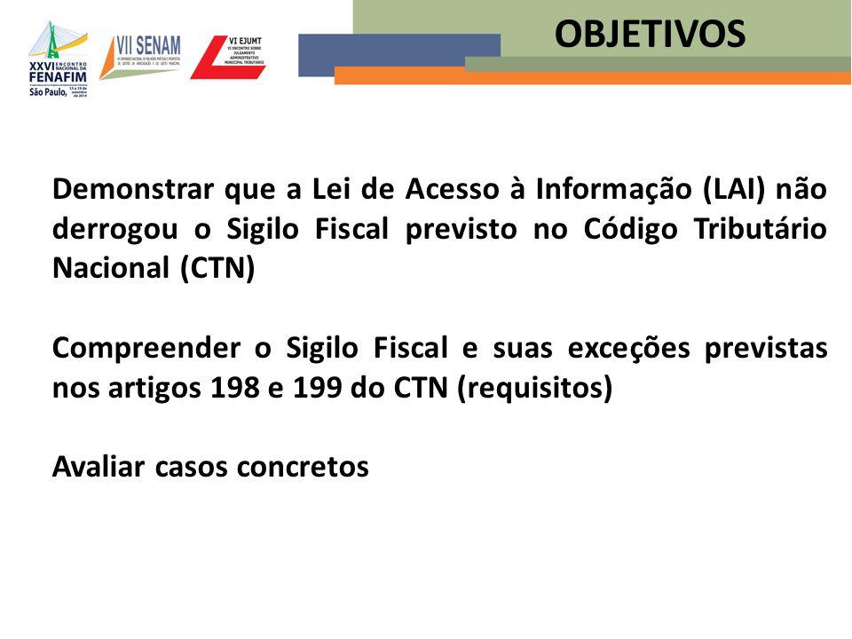 Demonstrar que a Lei de Acesso à Informação (LAI) não derrogou o Sigilo Fiscal previsto no Código Tributário Nacional (CTN) Compreender o Sigilo Fisca