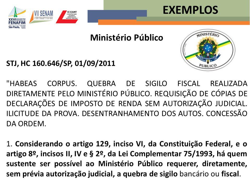 Ministério Público STJ, HC 160.646/SP, 01/09/2011