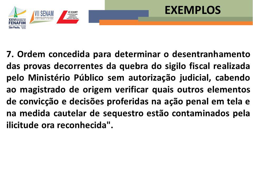 7. Ordem concedida para determinar o desentranhamento das provas decorrentes da quebra do sigilo fiscal realizada pelo Ministério Público sem autoriza