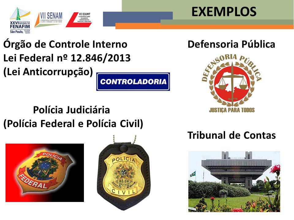 Órgão de Controle Interno Lei Federal nº 12.846/2013 (Lei Anticorrupção) EXEMPLOS Defensoria Pública Polícia Judiciária (Polícia Federal e Polícia Civ