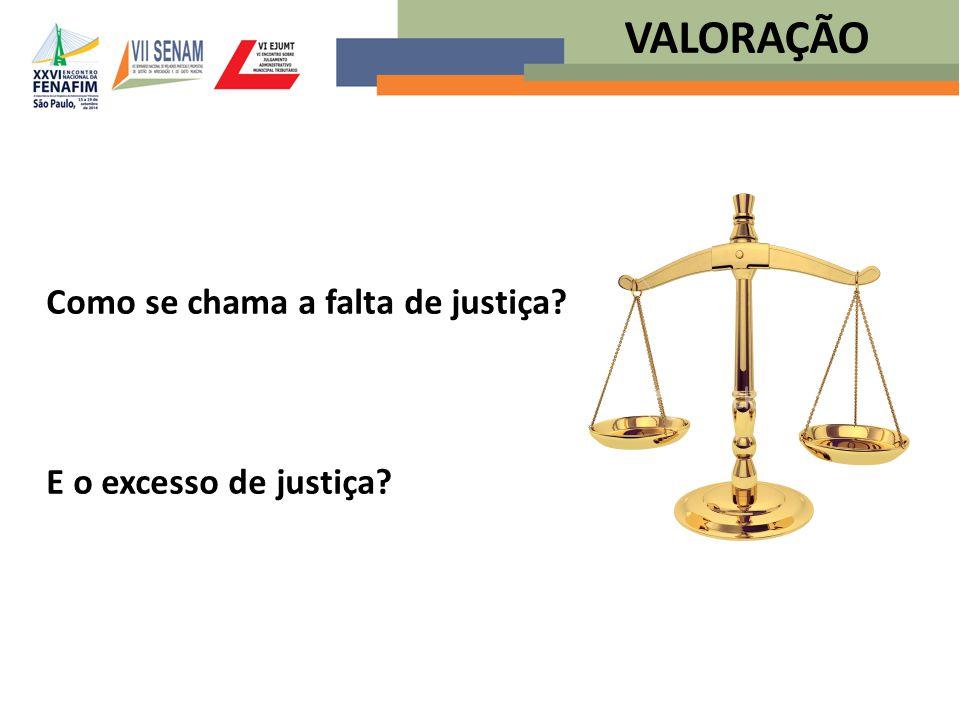 Como se chama a falta de justiça? E o excesso de justiça? VALORAÇÃO