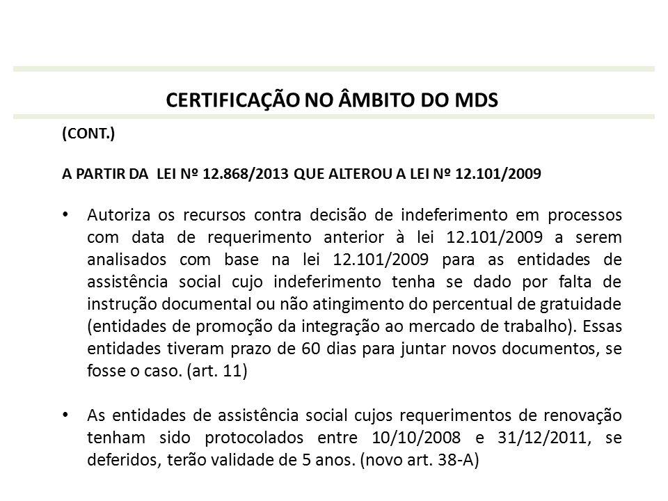(CONT.) A PARTIR DA LEI Nº 12.868/2013 QUE ALTEROU A LEI Nº 12.101/2009 Autoriza os recursos contra decisão de indeferimento em processos com data de
