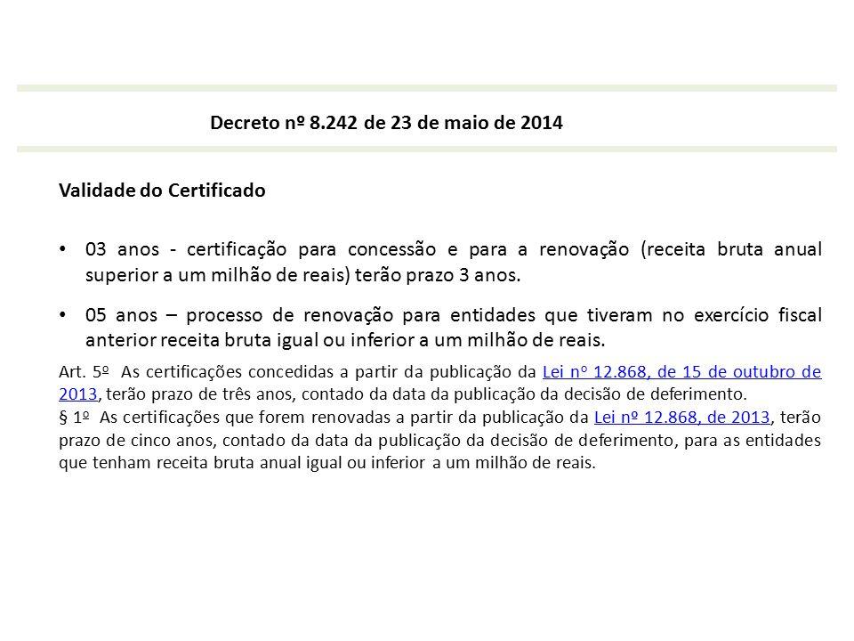 Decreto nº 8.242 de 23 de maio de 2014 Validade do Certificado 03 anos - certificação para concessão e para a renovação (receita bruta anual superior
