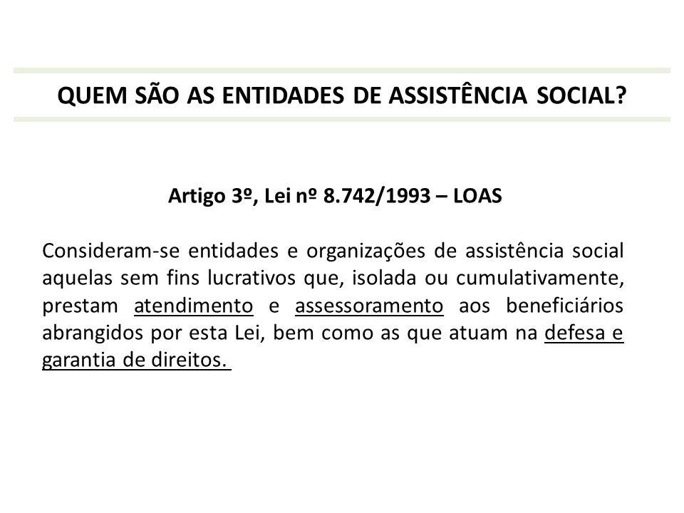 Artigo 3º, Lei nº 8.742/1993 – LOAS Consideram-se entidades e organizações de assistência social aquelas sem fins lucrativos que, isolada ou cumulativ