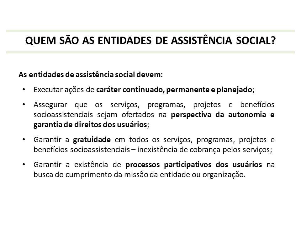 As entidades de assistência social devem: Executar ações de caráter continuado, permanente e planejado; Assegurar que os serviços, programas, projetos