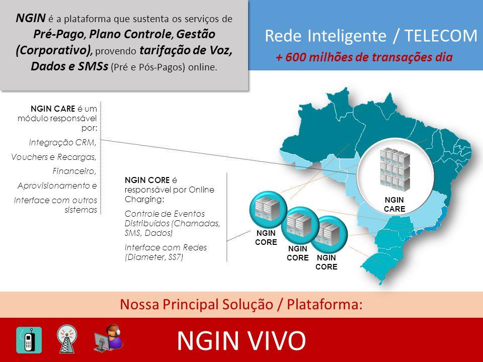 Rede Inteligente / TELECOM Nossa Principal Solução / Plataforma: NGIN VIVO NGIN é a plataforma que sustenta os serviços de Pré-Pago, Plano Controle, G