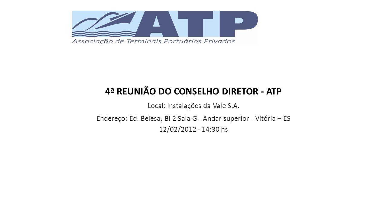 ABERTURA 1.Aprovação da ATA da 3ª reunião do Conselho Diretor 2.SEDE 3.Conselho fiscal da ATP (Art.
