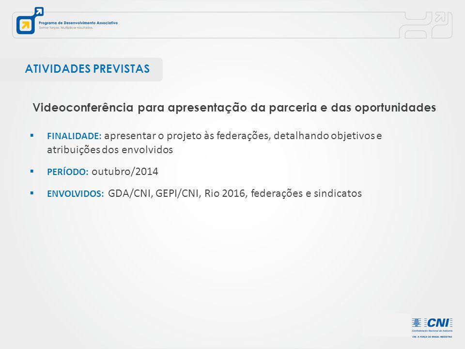  FINALIDADE: apresentar o projeto às federações, detalhando objetivos e atribuições dos envolvidos  PERÍODO: outubro/2014  ENVOLVIDOS: GDA/CNI, GEP