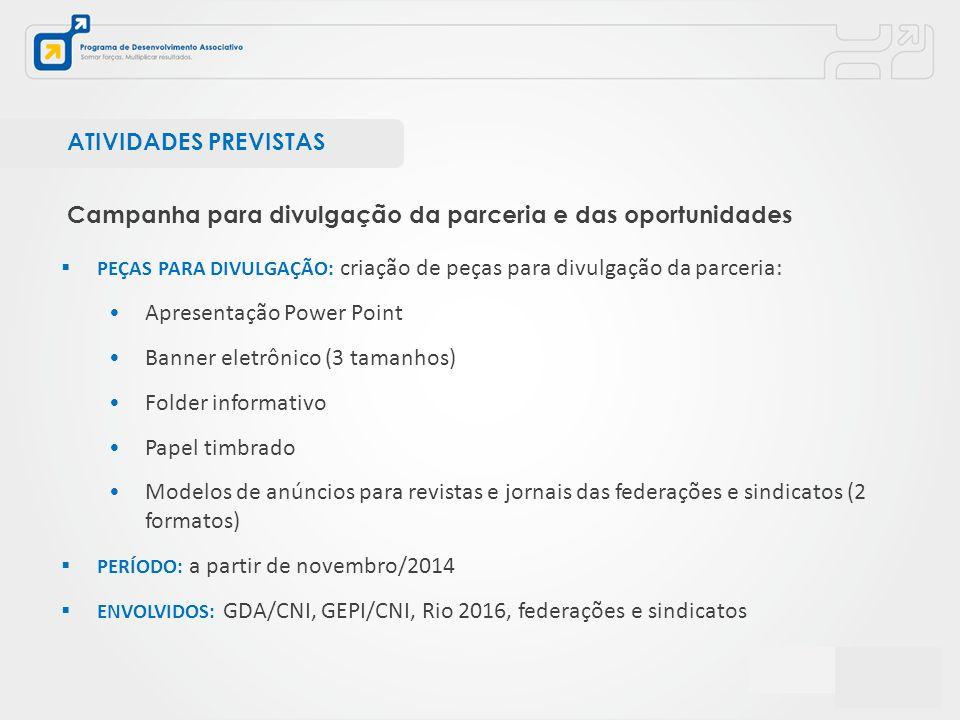  PEÇAS PARA DIVULGAÇÃO: criação de peças para divulgação da parceria: Apresentação Power Point Banner eletrônico (3 tamanhos) Folder informativo Pape