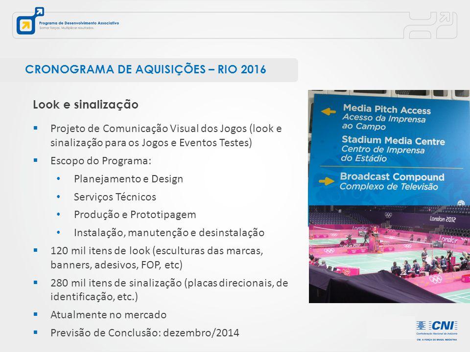  Projeto de Comunicação Visual dos Jogos (look e sinalização para os Jogos e Eventos Testes)  Escopo do Programa: Planejamento e Design Serviços Téc