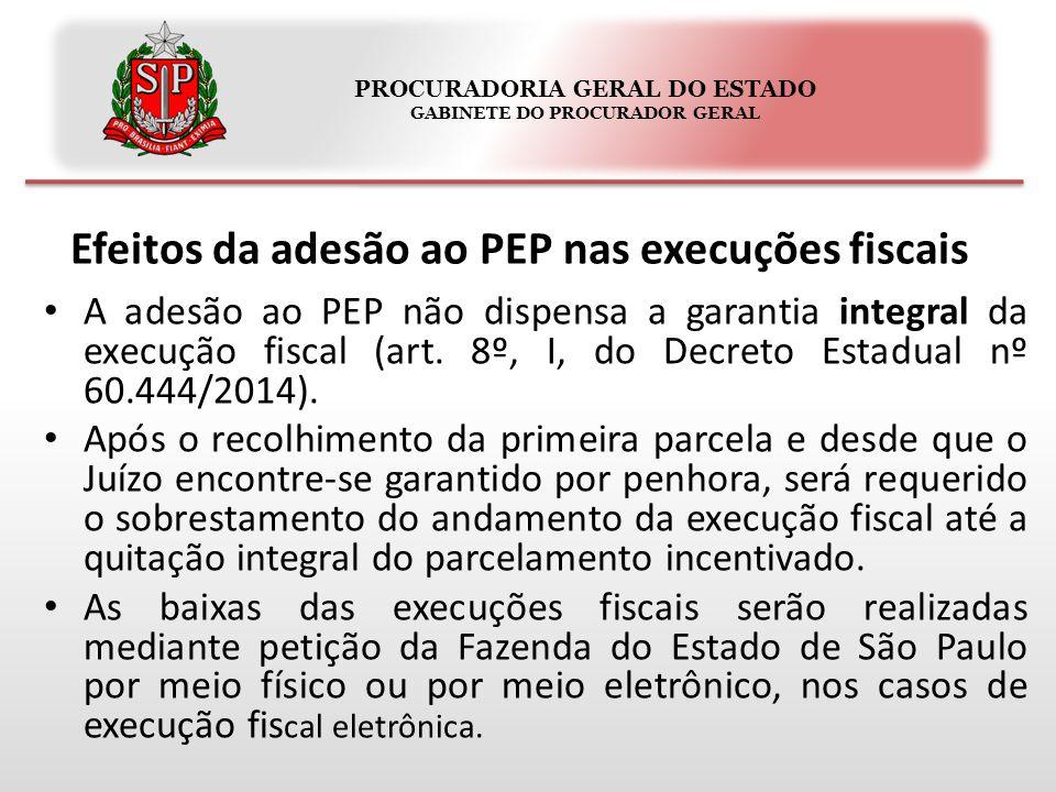 PROCURADORIA GERAL DO ESTADO GABINETE DO PROCURADOR GERAL Efeitos da adesão ao PEP nas execuções fiscais A adesão ao PEP não dispensa a garantia integral da execução fiscal (art.