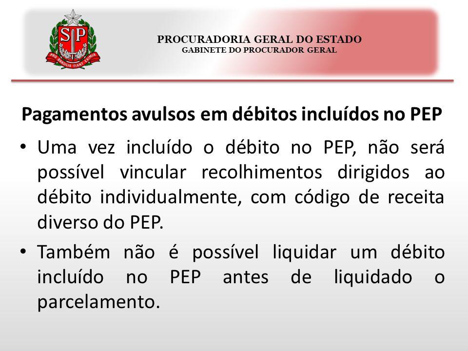 PROCURADORIA GERAL DO ESTADO GABINETE DO PROCURADOR GERAL Pagamentos avulsos em débitos incluídos no PEP Uma vez incluído o débito no PEP, não será po