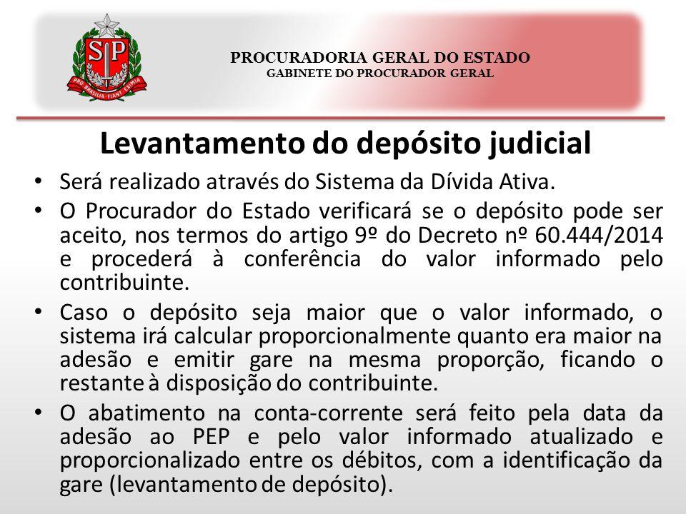 PROCURADORIA GERAL DO ESTADO GABINETE DO PROCURADOR GERAL Levantamento do depósito judicial Será realizado através do Sistema da Dívida Ativa. O Procu