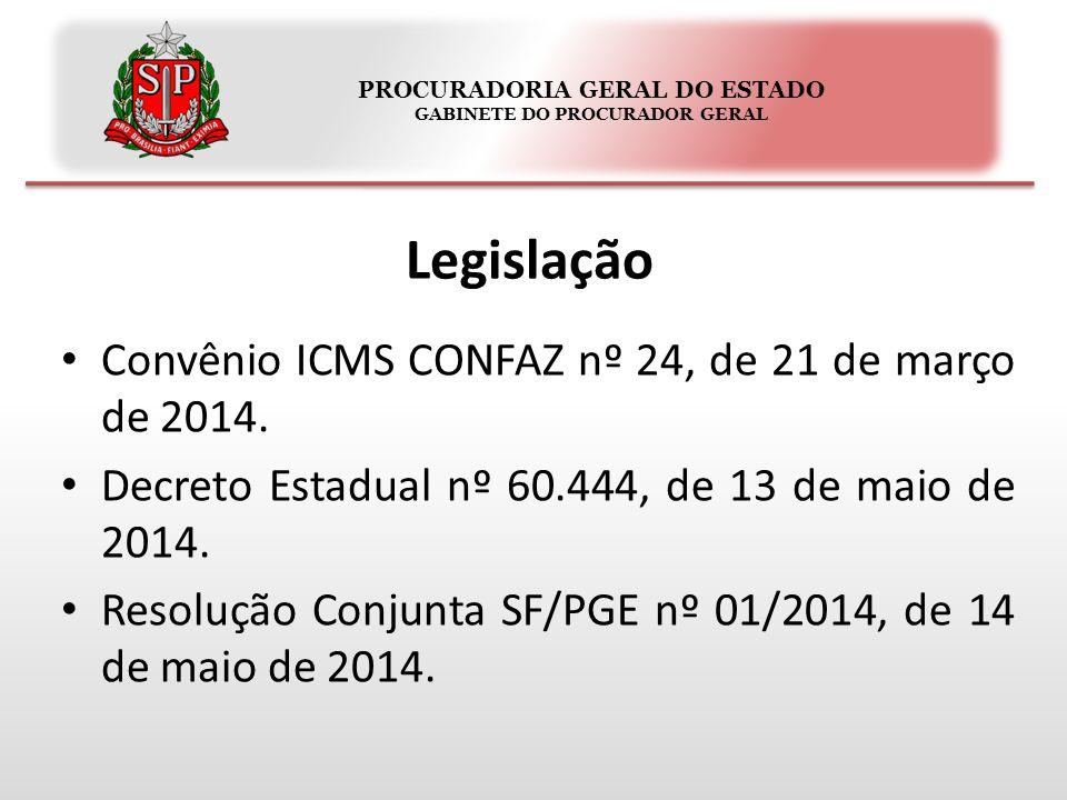 PROCURADORIA GERAL DO ESTADO GABINETE DO PROCURADOR GERAL Legislação Convênio ICMS CONFAZ nº 24, de 21 de março de 2014. Decreto Estadual nº 60.444, d