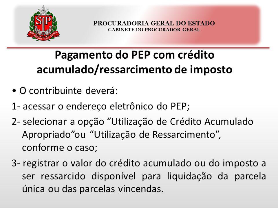 PROCURADORIA GERAL DO ESTADO GABINETE DO PROCURADOR GERAL Pagamento do PEP com crédito acumulado/ressarcimento de imposto O contribuinte deverá: 1- ac