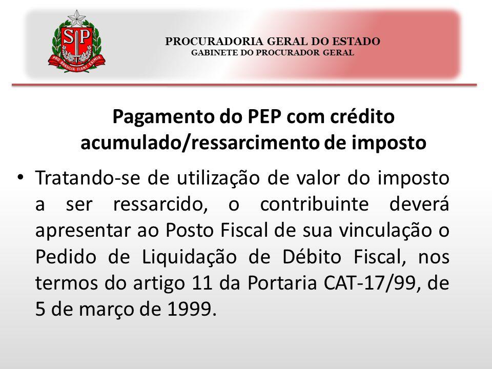PROCURADORIA GERAL DO ESTADO GABINETE DO PROCURADOR GERAL Tratando-se de utilização de valor do imposto a ser ressarcido, o contribuinte deverá apresentar ao Posto Fiscal de sua vinculação o Pedido de Liquidação de Débito Fiscal, nos termos do artigo 11 da Portaria CAT-17/99, de 5 de março de 1999.