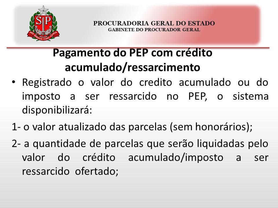 PROCURADORIA GERAL DO ESTADO GABINETE DO PROCURADOR GERAL Pagamento do PEP com crédito acumulado/ressarcimento Registrado o valor do credito acumulado