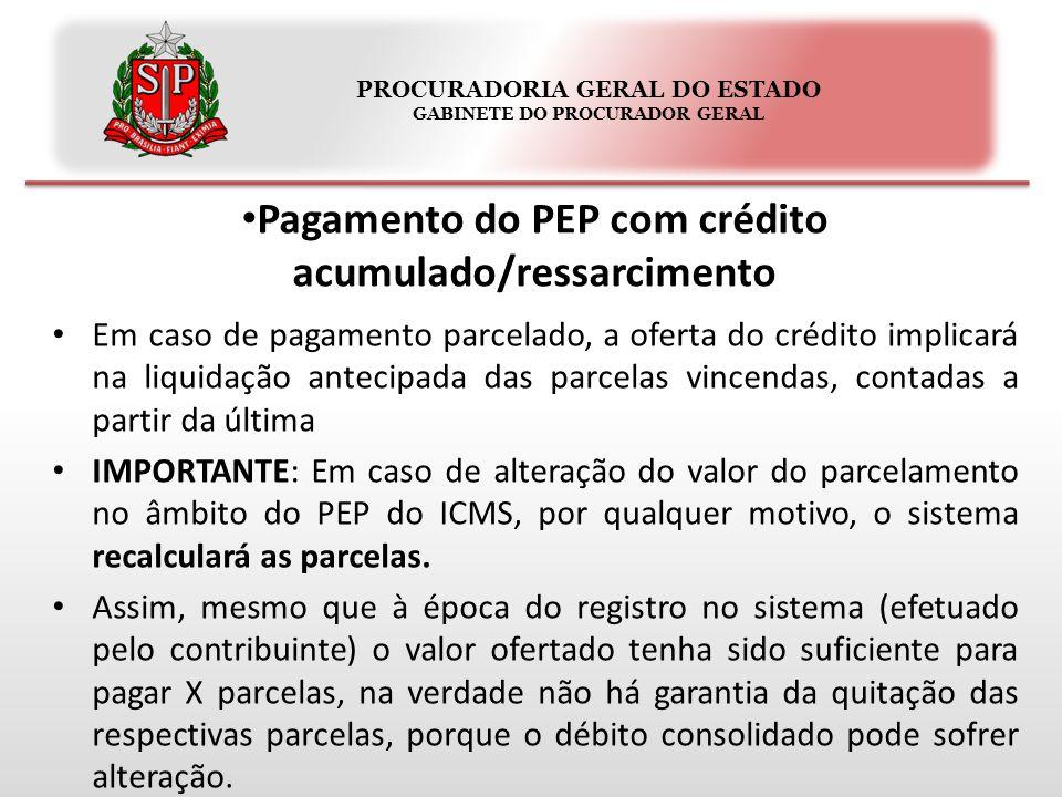 PROCURADORIA GERAL DO ESTADO GABINETE DO PROCURADOR GERAL Pagamento do PEP com crédito acumulado/ressarcimento Em caso de pagamento parcelado, a ofert