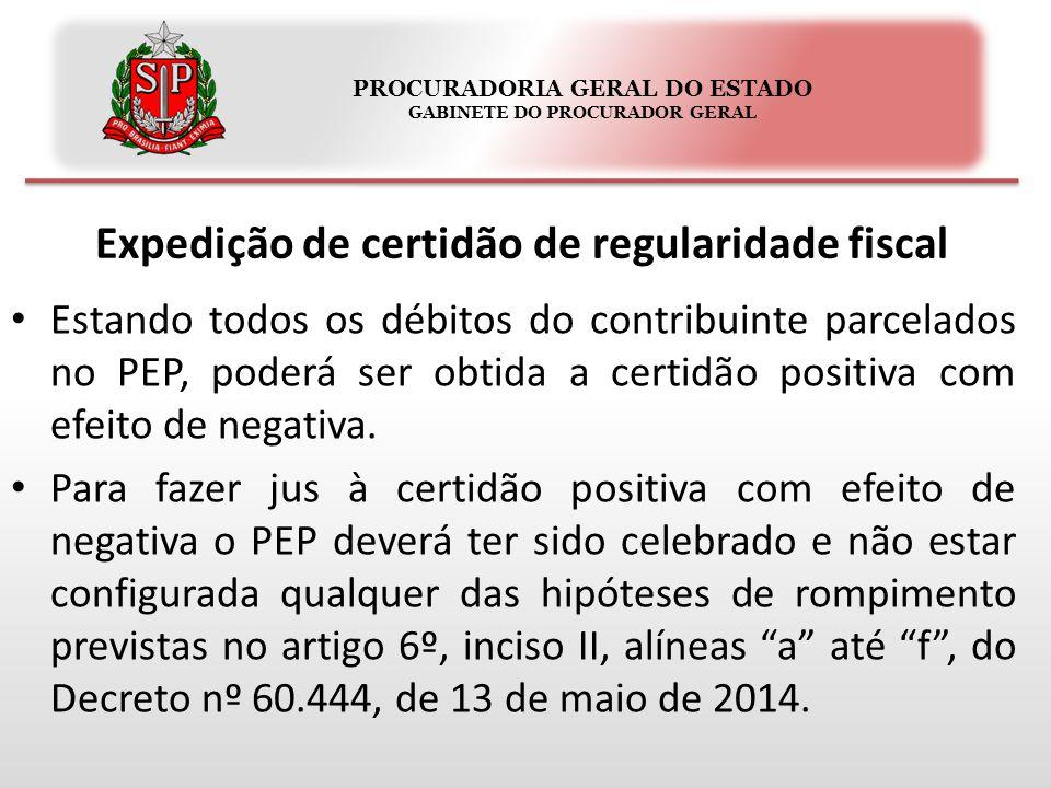 PROCURADORIA GERAL DO ESTADO GABINETE DO PROCURADOR GERAL Levantamento do depósito judicial Será realizado através do Sistema da Dívida Ativa.