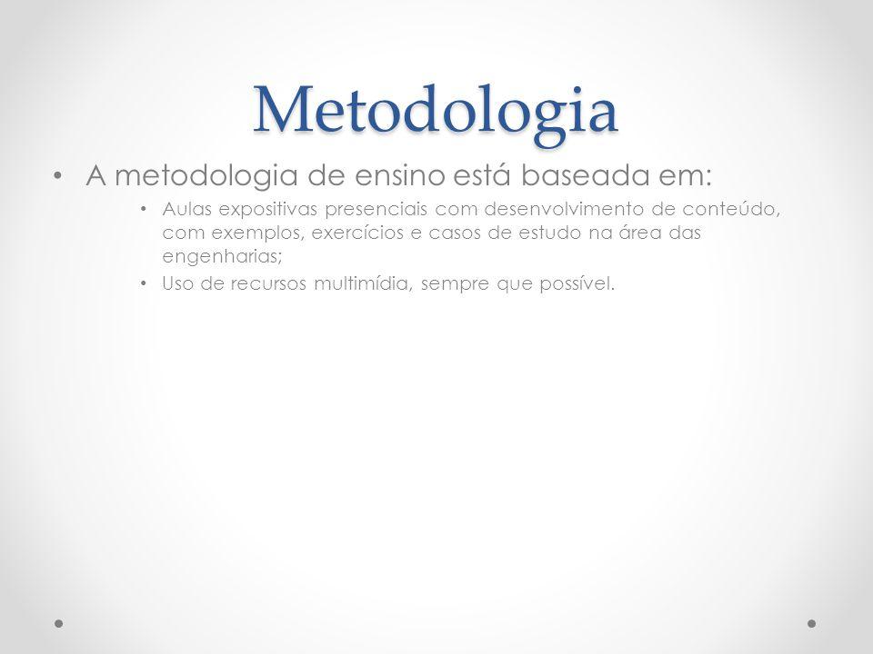 Metodologia A metodologia de ensino está baseada em: Aulas expositivas presenciais com desenvolvimento de conteúdo, com exemplos, exercícios e casos d