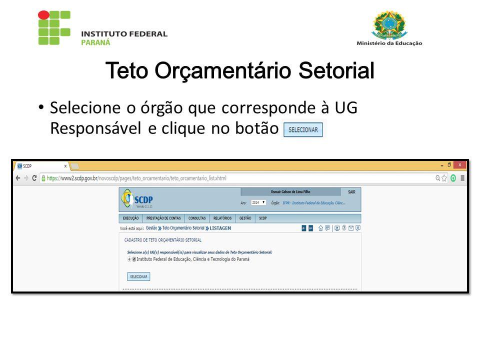 Selecione o órgão que corresponde à UG Responsável e clique no botão