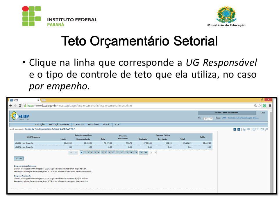 Clique na linha que corresponde a UG Responsável e o tipo de controle de teto que ela utiliza, no caso por empenho.