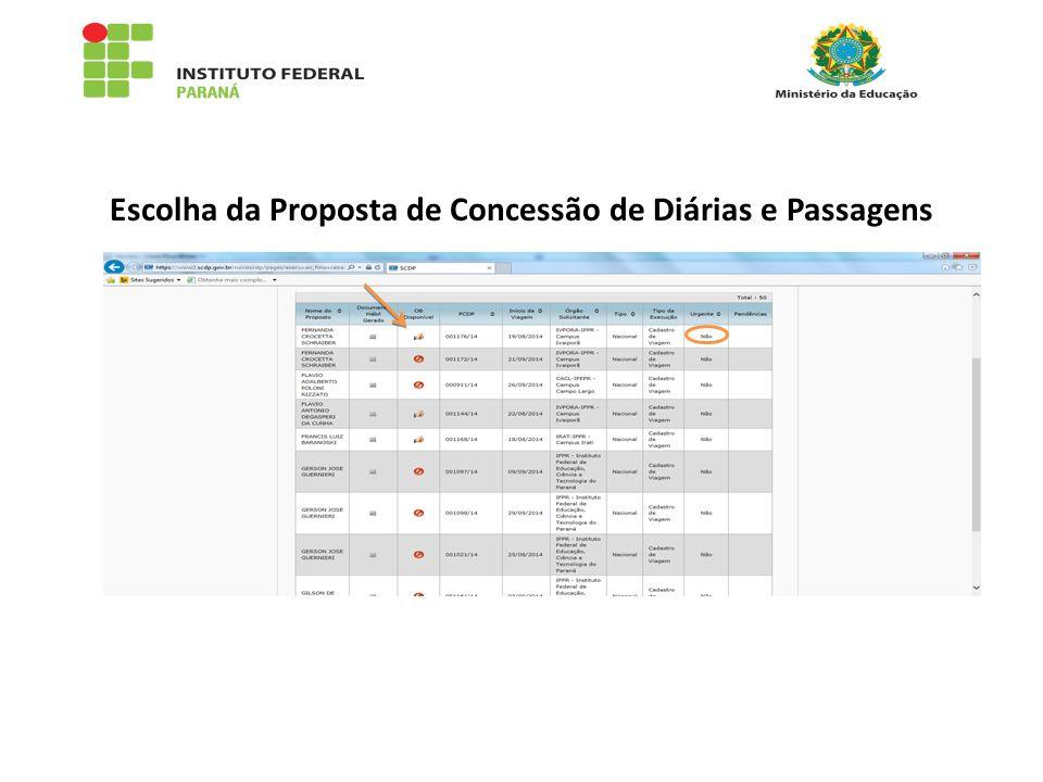 Escolha da Proposta de Concessão de Diárias e Passagens