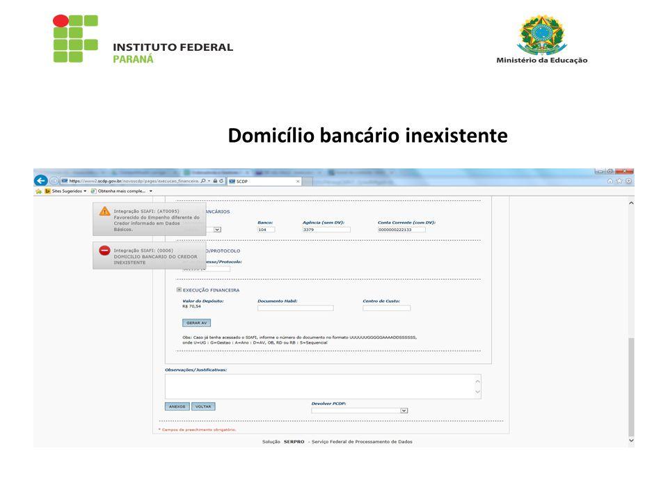 Domicílio bancário inexistente