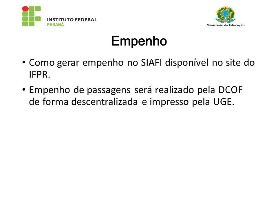 Como gerar empenho no SIAFI disponível no site do IFPR.