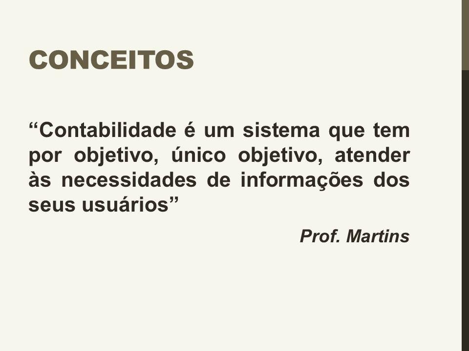 """CONCEITOS """"Contabilidade é um sistema que tem por objetivo, único objetivo, atender às necessidades de informações dos seus usuários"""" Prof. Martins"""