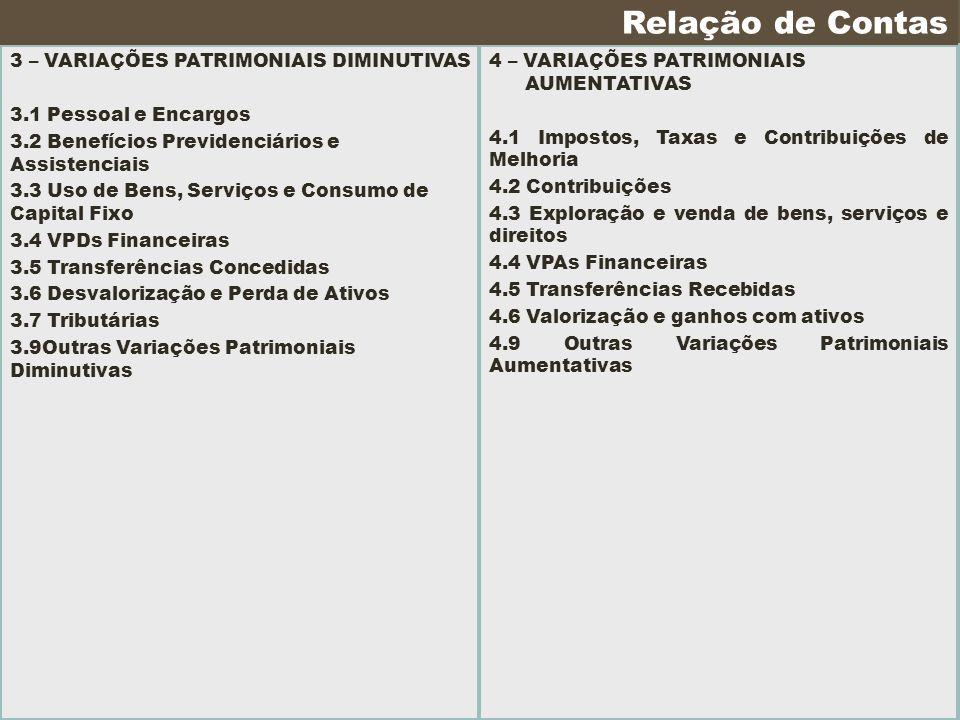3 – VARIAÇÕES PATRIMONIAIS DIMINUTIVAS 3.1 Pessoal e Encargos 3.2 Benefícios Previdenciários e Assistenciais 3.3 Uso de Bens, Serviços e Consumo de Ca