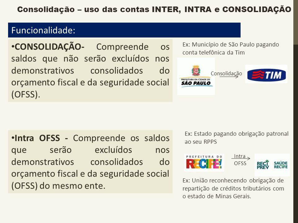 Funcionalidade: CONSOLIDAÇÃO- Compreende os saldos que não serão excluídos nos demonstrativos consolidados do orçamento fiscal e da seguridade social