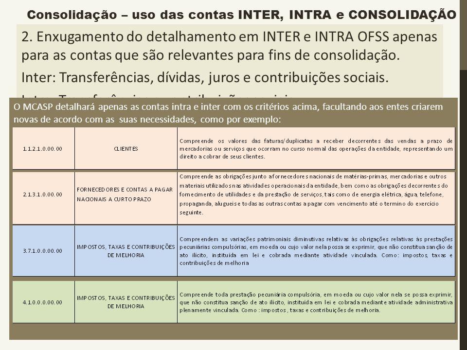 Exemplo: 2. Enxugamento do detalhamento em INTER e INTRA OFSS apenas para as contas que são relevantes para fins de consolidação. Inter: Transferência