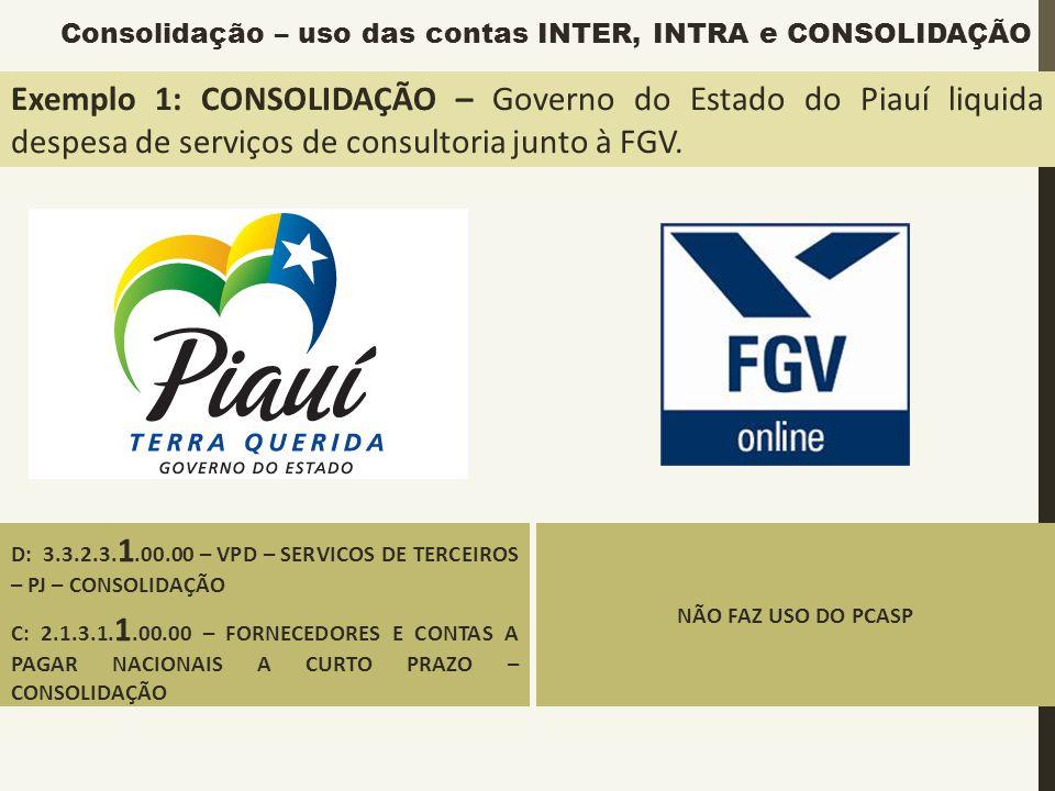 Exemplo 1: CONSOLIDAÇÃO – Governo do Estado do Piauí liquida despesa de serviços de consultoria junto à FGV. D: 3.3.2.3. 1.00.00 – VPD – SERVICOS DE T